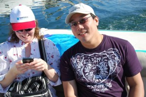 Eric Chan (Mobile Slate) and Caroline, Tweeting on the Med.